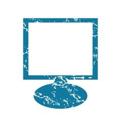 Monitor grunge icon vector