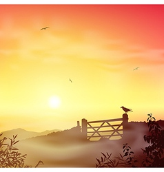 Misty morning landscape vector