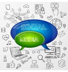 Speech bubble social media design vector