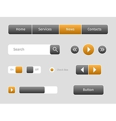 Set of web buttons with outlines vector