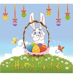Happy easter with eggs and rabbit vector