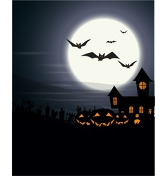 Halloween background with haunted house and scary vector