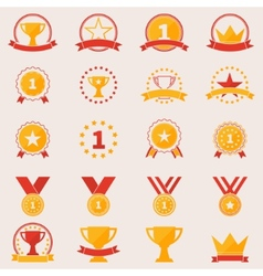 Set of awards and victory icons vector
