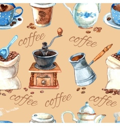 Vintage coffee set items seamless pattern vector