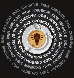 Cup of light bulb in cappuccino vector