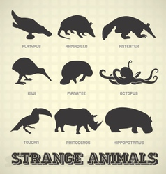 Strange and odd animal silhouettes vector