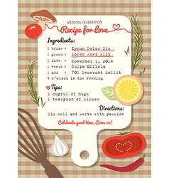 Recipe card creative wedding invitation design vector