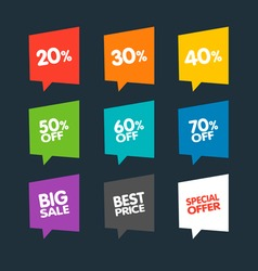 Flat discount labels vector