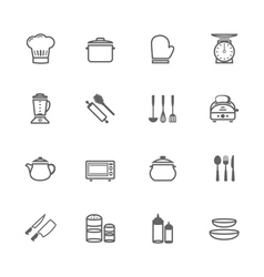 Set of outline stroke kitchenware icon vector