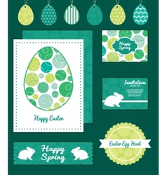 Abstract green circles set of easter cards vector