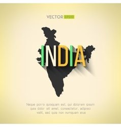India map in flat design indian border and vector