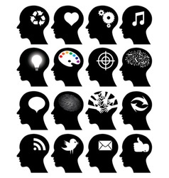 Set of 16 head icons with idea symbols vector
