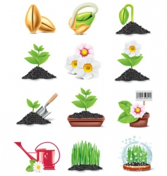 Gardening icon set vector