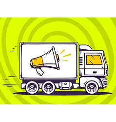 Truck free and fast delivering megaphone vector