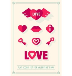 Valentines day love icons set vector