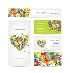 Set of cards floral heart for your design vector