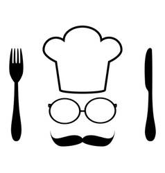 Chef hat glasses and mustache vector