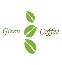 Three green coffee beans on white vector