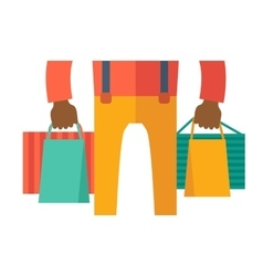 Hand with shopping bag vector