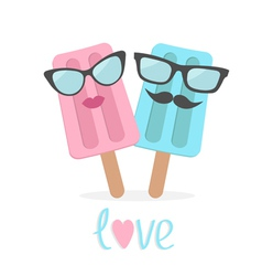 Ice cream couple with lips mustaches and eyeglasse vector