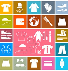 Clothing - fashion colorful square flat icons set vector
