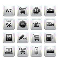 Supermarket services shopping icons vector