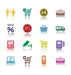 Supermarket services pictograms vector
