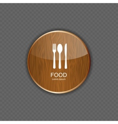 Food and drink wood application icons vector