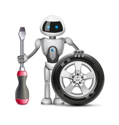 Robot with a car wheel and a screwdriver vector