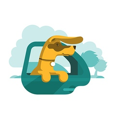 Dog is looking out of car window vector