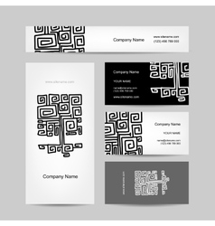Ethnic ornamental tree business cards design vector