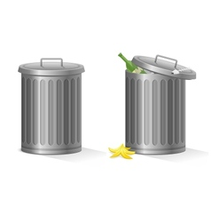 Empty and full refuse bin vector