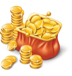 Wallet full of coins vector