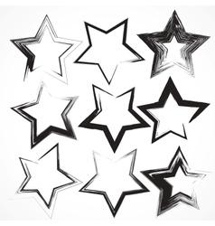 Set of grunge star brush strokes vector