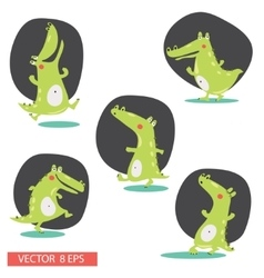 Crocodile cartoon characters vector