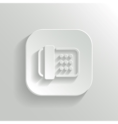 Fax machine icon - white app button vector