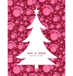 Ruby christmas tree silhouette pattern frame card vector