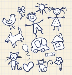 Childrens scribbles notebook vector