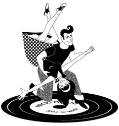 Rock and roll dancing in black and white vector