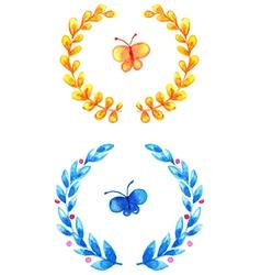 Watercolor floral frames vector