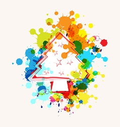 Christmas tree on ink splatter background vector