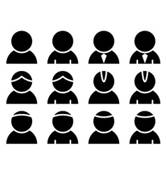 Black person icons vector