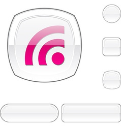Rss white button vector