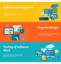 Program development banner set vector
