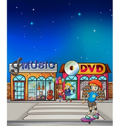 A boy playing with his skateboard vector