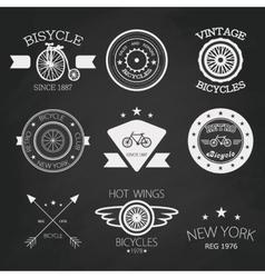 Chalk set of old bikes shop logo set vector
