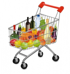 Shopping cart with fruit vector