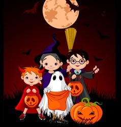 Halloween background with children vector