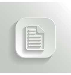 Document icon - white app button vector