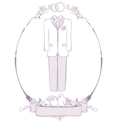 Wedding groom suit in frame vector
